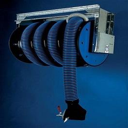 Abgasschlauchaufroller Ø 125 / 10 m mit Federantrieb, mit Ventilator-0
