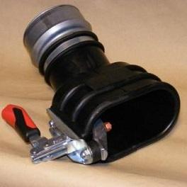 Abgastrichter, oval für Doppelauspuff bis 150 mm Ø NW 100-0
